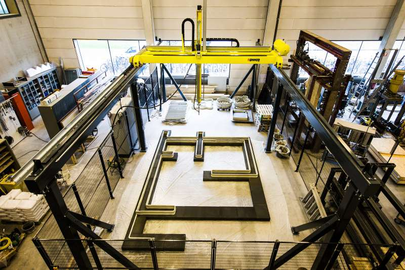 Mit dem 3D-Betondrucker der Technischen Universität Eindhoven können ganze Häuser gedruckt werden.