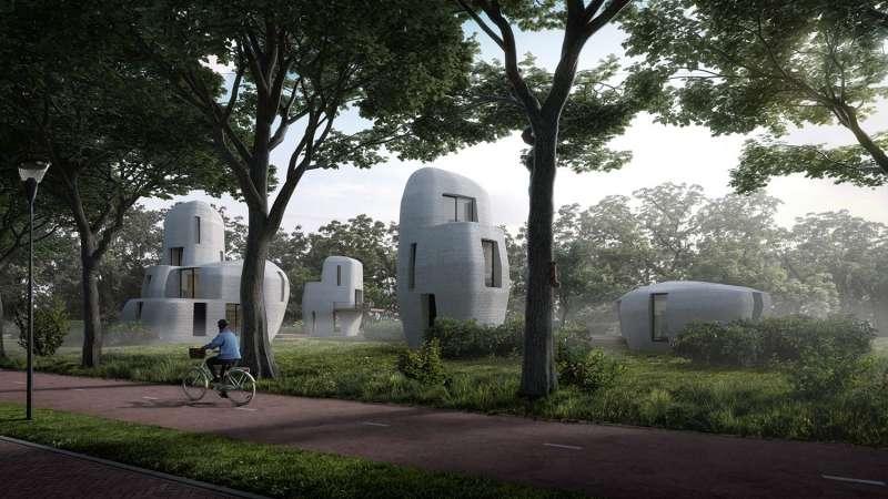 So werden die Beton-Häuser aus dem 3D-Drucker einmal aussehen, die in der niederländischen Stadt Eindhoven gebaut bzw. gedruckt werden.