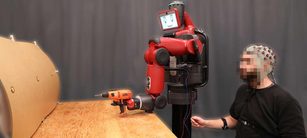 Forscher vom MIT (CSAIL) haben einen Roboter über Gehirnsteuerung gestoppt, wenn er Fehler gemacht hat - mit error-related-potentials (ErrPs-Signalen).
