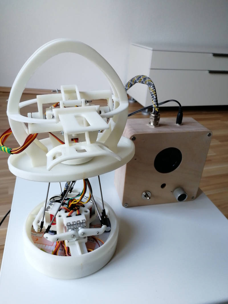 Das Innenleben von Tanz-Roboter Rose: Eine Stewart-Plattform, angetrieben von Servo-Moteren.