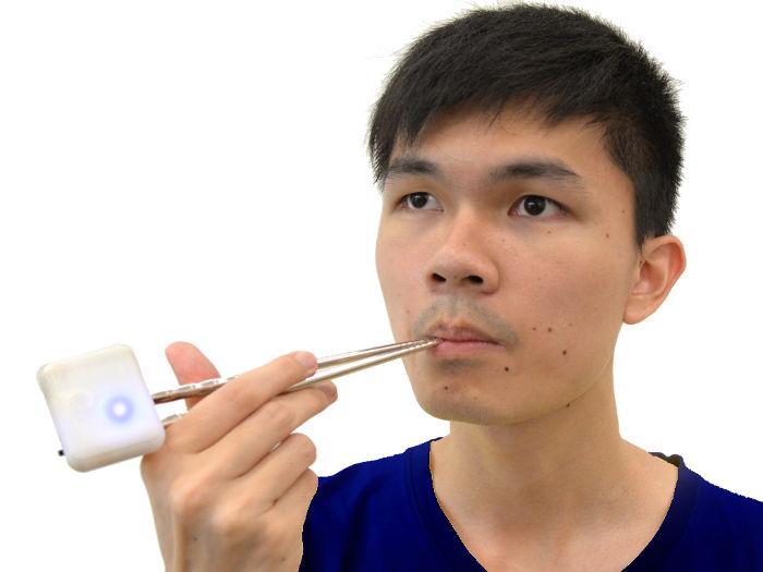 Elektrische Essstäbchen entwickelt von dem Wissenschaftler Nimesha Ranasinghe. Mit diesen Stäbchen kann man den Geschmack von Salz mit elektronischen Stimulationen verstärken. Auch die elektrische Geschmacksverstärkung von bitter, sauer und süß ist möglich.