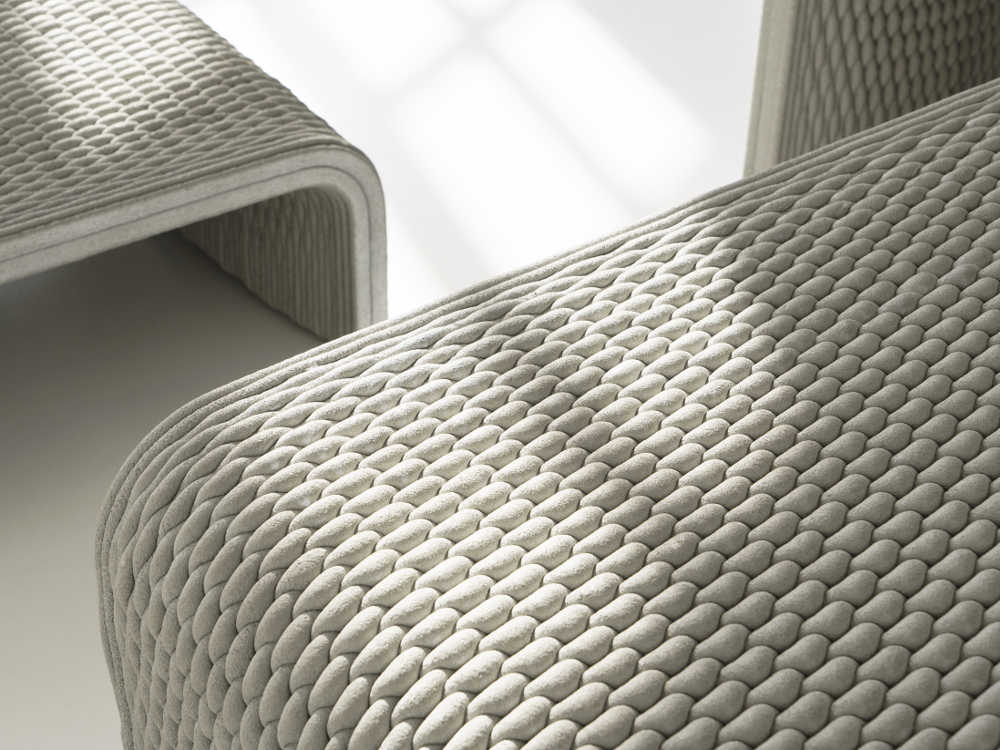 Das Gewebe der Beton-Bänke aus dem 3D-Betondrucker in der Nahansicht.