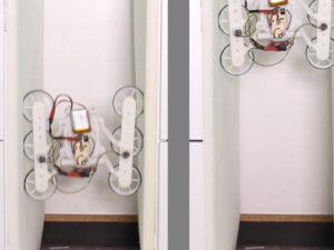 Der Roboter RSTAR (Rising Sprawl-Tuned Autonomous Robot) fährt in einm Spalt zwischen zwei Wänden hoch.