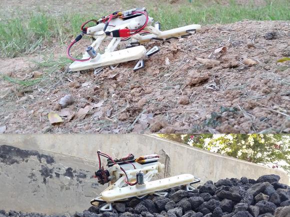 Der Schildkröten Roboter (RSTAR - Rising STAR) auf schwierigem Gelände: Sand mit Steigung und Geröll.