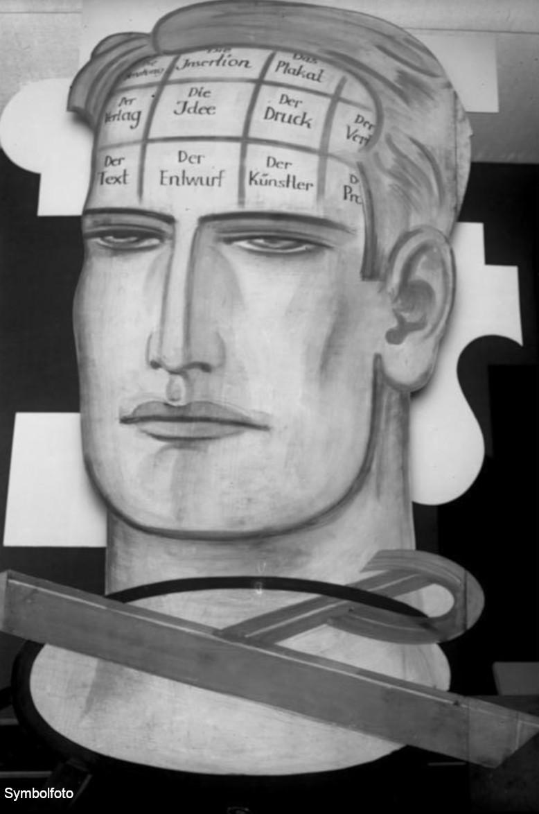 Das soll das Gehirn eines Reklamefachmannes sein, wie man es sich im Jahr 1929 vorgestellt hat.
