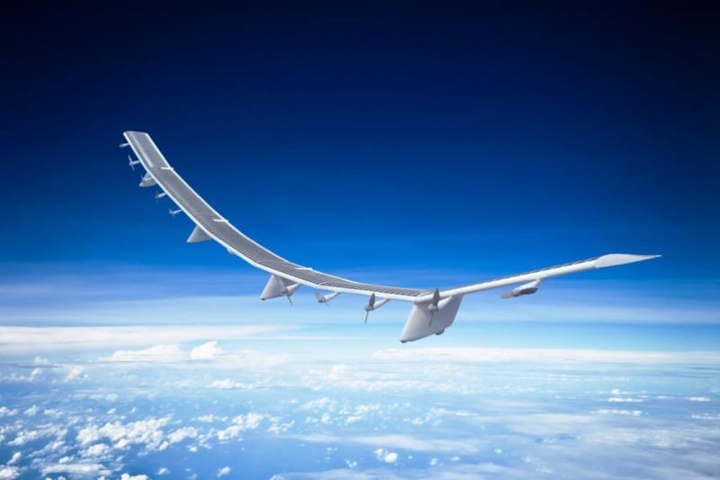 Die HAWK30 Internet-Drohne als Konzept in der Luft in der Stratosphäre über den Wolken.