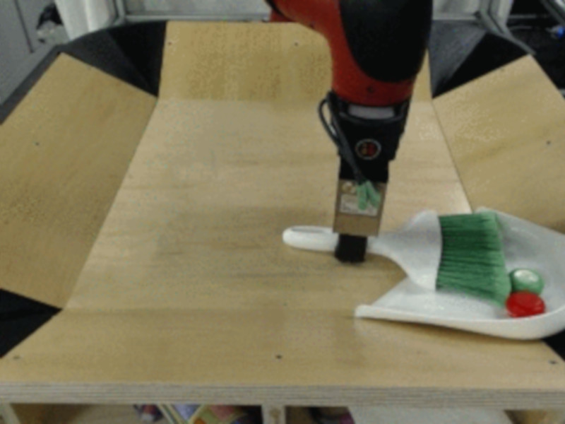 Roboterarm der lernt, unbekannte Objekte als Werkzeuge zu nutzen.