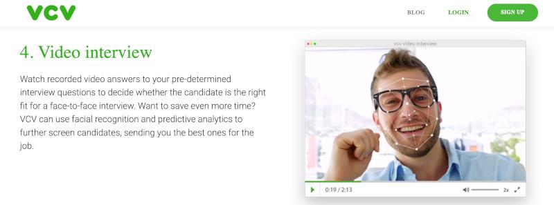 Das Roboter-Recruiting von VCV arbeitet mit Gesichtserkennung (Englisch: facial recognition)