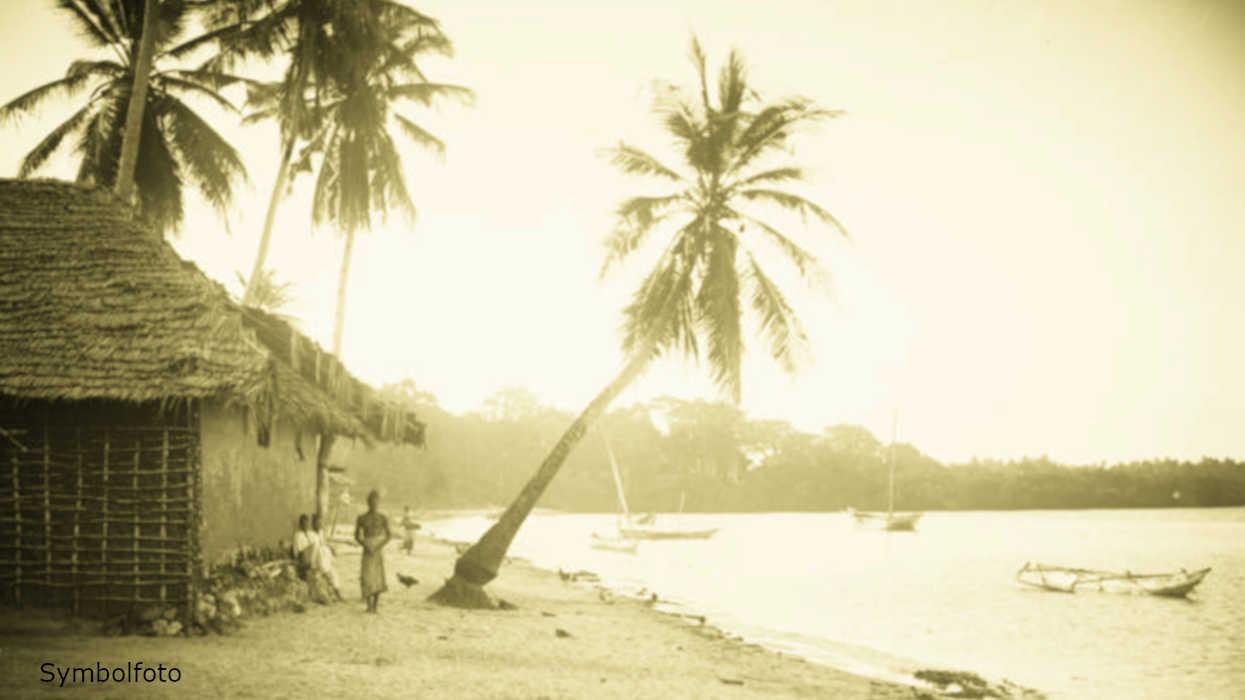 Menschen und Palmen am Strand sowie Fischerboote im Wasser.
