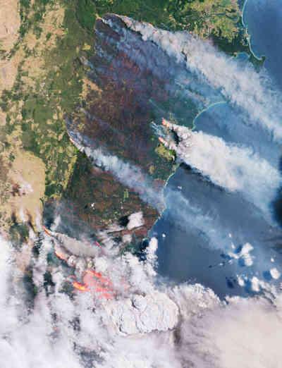 Dieses Satellitenbild zeigt die Australien-Feuer und die Folgen, die die Brände haben.